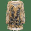 Round Neck Flower Print Swing Blouse - FLORAL