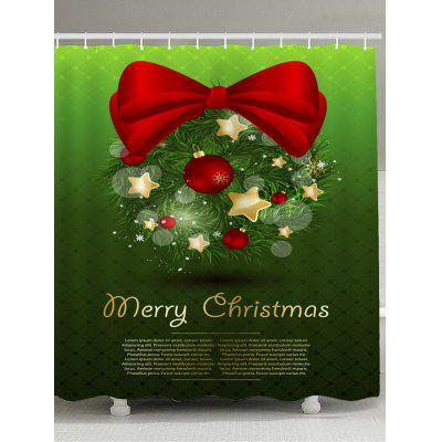 Christmas Bowknot Printed Waterproof Shower Curtain