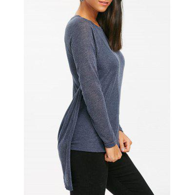Buy BLUE GRAY L Asymmetrical Tunic Pullover Sweater for $23.48 in GearBest store
