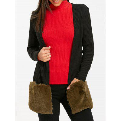 Buy BLACK L Open Front Faux Fur Tunic Cardigan for $30.50 in GearBest store