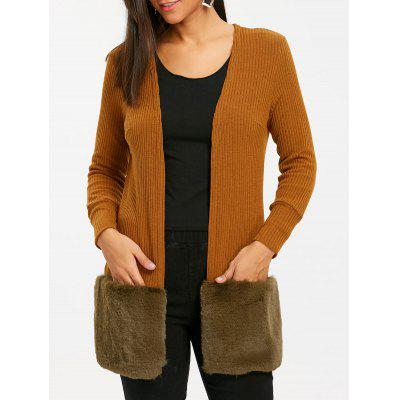 Buy BROWN M Open Front Faux Fur Tunic Cardigan for $30.50 in GearBest store