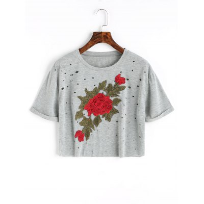 Floral Embroidered Patches Holes Cropped Top