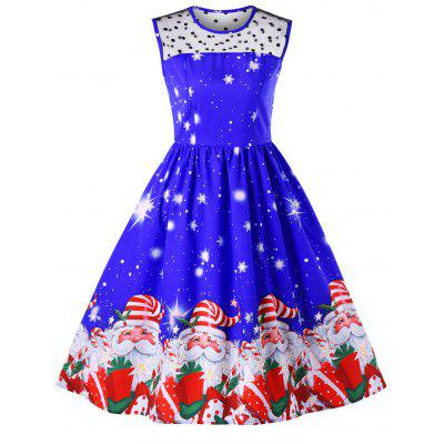 Christmas Santa Claus Print Flare Midi Dress