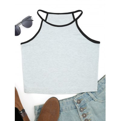 Cotton Cropped Contrasting Tank Top