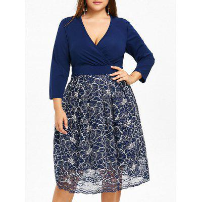 Plus Size Surplice Floral Lace Formal Dress