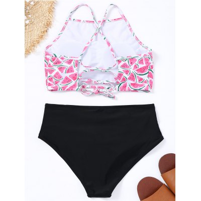 Watermelon Print Lace-up High Neck Bikini SetLingerie &amp; Shapewear<br>Watermelon Print Lace-up High Neck Bikini Set<br><br>Bra Style: Padded<br>Elasticity: Elastic<br>Embellishment: Lace up<br>Gender: For Women<br>Material: Nylon, Spandex<br>Neckline: High Neck<br>Package Contents: 1 x Top  1 x Briefs<br>Pattern Type: Print<br>Style: Sexy<br>Support Type: Wire Free<br>Swimwear Type: Bikini<br>Waist: Natural<br>Weight: 0.2600kg