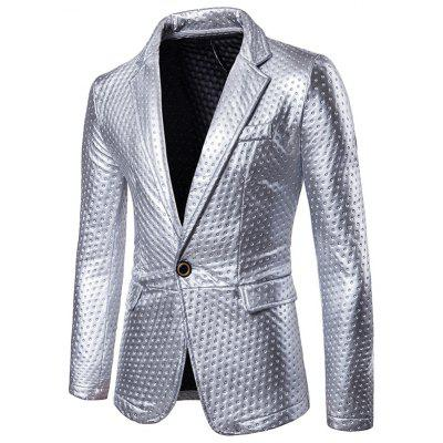 Metallic Color One Button Flap Pocket Blazer