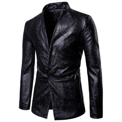 Stand Collar One Button Faux Leather Blazer
