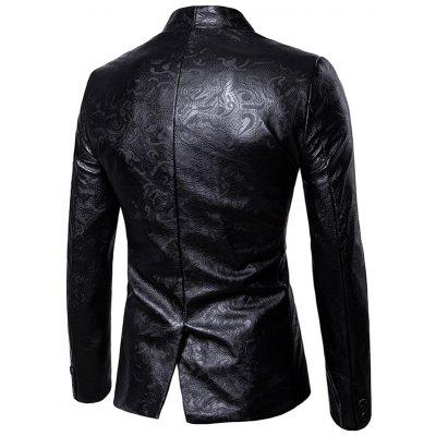 Stand Collar One Button Faux Leather BlazerMens Blazers<br>Stand Collar One Button Faux Leather Blazer<br><br>Closure Type: Single Breasted<br>Material: Faux Leather, Polyester<br>Package Contents: 1 x Blazer<br>Shirt Length: Regular<br>Sleeve Length: Long Sleeves<br>Weight: 0.8000kg