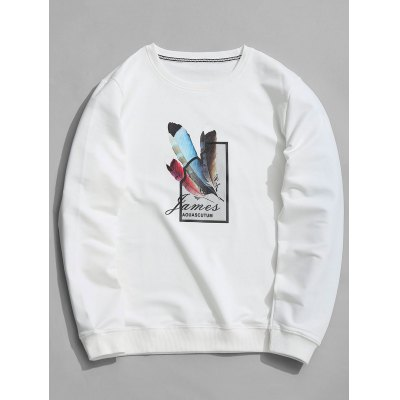 Crew Neck Feather Graphic Sweatshirt