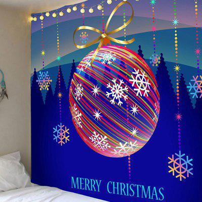 Colorful Striped Christmas Ball Printed Waterproof Wall Hanging Tapestry
