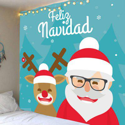 Buy COLORFUL Smile Santa and Elk Printed Waterproof Wall Hanging Tapestry for $14.11 in GearBest store