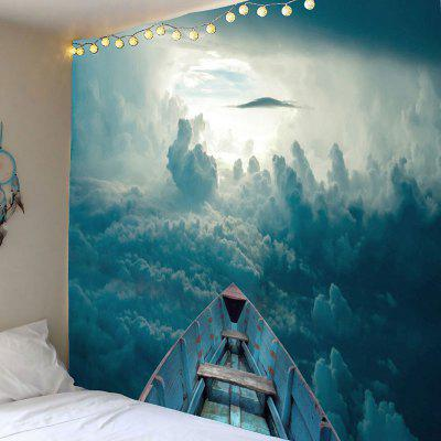 3D Cloud and Boat Printed Wall Art Tapestry