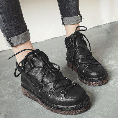 Фото Round Toe Tie Up Leatherette Ankle Boots. Купить в РФ