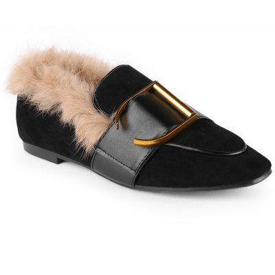 Buckle Strap Faux Fur Loafer Shoes