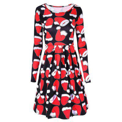 Christmas Hat Print Mini Swing Dress