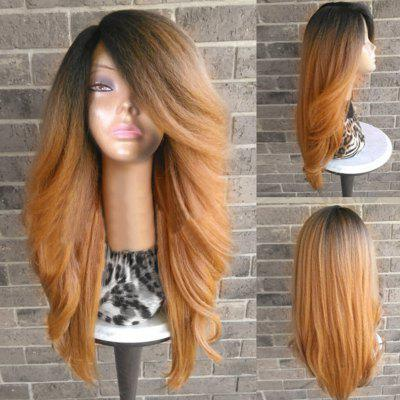 Long Side Parting Colormix Shaggy Yaki Straight Synthetic Wig