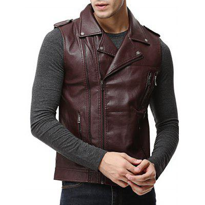 Buy WINE RED 3XL Epaulet Design Asymmetrical Zip Faux Leather Vest for $48.90 in GearBest store