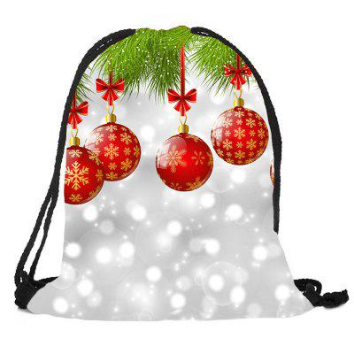 Christmas Baubles Pattern Candy Bag Drawstring Backpack