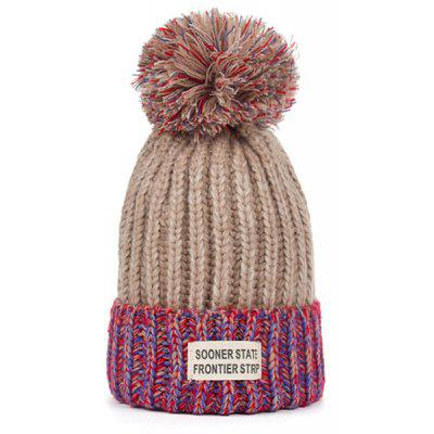 Outdoor Letter Label Embellished Flanging Knitted Pom Beanie