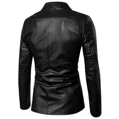 Diamond Pattern One Button Faux Leather BlazerMens Blazers<br>Diamond Pattern One Button Faux Leather Blazer<br><br>Closure Type: Single Breasted<br>Material: Faux Leather, Polyester<br>Package Contents: 1 x Blazer<br>Shirt Length: Regular<br>Sleeve Length: Long Sleeves<br>Weight: 0.6300kg