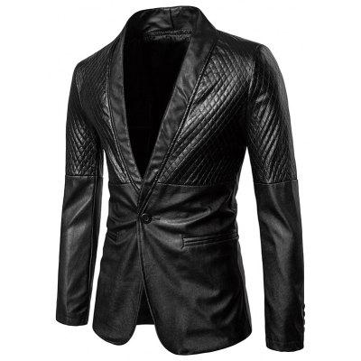 Diamond Pattern One Button Faux Leather Blazer
