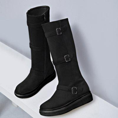 Фото Side Zip Buckle Strap Mid Calf Boots. Купить в РФ