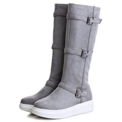 Side Zip Buckle Strap Mid Calf BootsWomens Boots<br>Side Zip Buckle Strap Mid Calf Boots<br><br>Boot Height: Mid-Calf<br>Boot Tube Height: 35CM<br>Boot Type: Fashion Boots<br>Closure Type: Zip<br>Gender: For Women<br>Heel Height: 3.5CM<br>Heel Height Range: Low(0.75-1.5)<br>Heel Type: Low Heel<br>Package Contents: 1 x Boots (pair)<br>Pattern Type: Solid<br>Season: Spring/Fall, Winter<br>Shoe Width: Medium(B/M)<br>Toe Shape: Round Toe<br>Upper Material: Suede<br>Weight: 1.3800kg