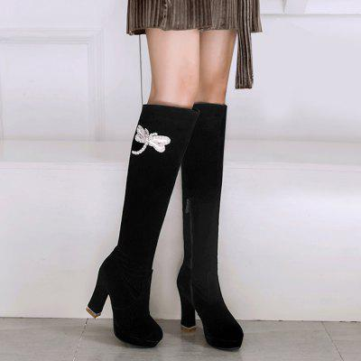 Rhinestone Insect High Heel Thigh High BootsWomens Boots<br>Rhinestone Insect High Heel Thigh High Boots<br><br>Boot Height: Over-the-Knee<br>Boot Type: Fashion Boots<br>Closure Type: Zip<br>Gender: For Women<br>Heel Height: 10.5CM<br>Heel Height Range: High(3-3.99)<br>Heel Type: Chunky Heel<br>Package Contents: 1 x Boots (pair)<br>Pattern Type: Insect<br>Platform Height: 2.5CM<br>Season: Spring/Fall, Winter<br>Shoe Width: Medium(B/M)<br>Toe Shape: Round Toe<br>Upper Material: Suede<br>Weight: 1.7500kg