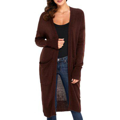 Front Pocket Longline Knitted CardiganSweaters &amp; Cardigans<br>Front Pocket Longline Knitted Cardigan<br><br>Collar: Collarless<br>Material: Acrylic<br>Package Contents: 1 x Cardigan<br>Pattern Type: Solid<br>Season: Fall, Spring<br>Sleeve Length: Full<br>Style: Fashion<br>Type: Cardigans<br>Weight: 0.4700kg