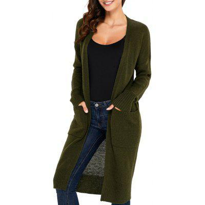 Front Pocket Longline Knitted Cardigan