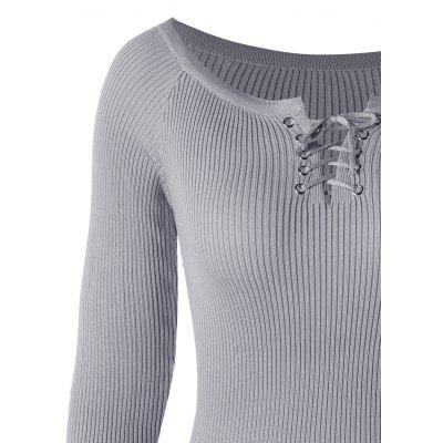 Lace Up Scoop Neck Ribbed SweaterSweaters &amp; Cardigans<br>Lace Up Scoop Neck Ribbed Sweater<br><br>Collar: Scoop Neck<br>Embellishment: Lace up<br>Material: Polyester<br>Package Contents: 1 x Sweater<br>Pattern Type: Solid<br>Season: Fall, Spring, Winter<br>Sleeve Length: Full<br>Style: Fashion<br>Type: Pullovers<br>Weight: 0.5100kg