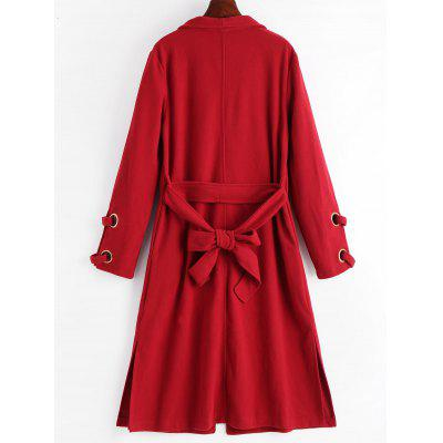 Side Slit Draped Coat with BeltJackets &amp; Coats<br>Side Slit Draped Coat with Belt<br><br>Collar: Collarless<br>Embellishment: Draped<br>Material: Polyester<br>Package Contents: 1 x Coat  1 x Belt<br>Pattern Type: Solid<br>Shirt Length: X-Long<br>Sleeve Length: Full<br>Style: Casual<br>Type: Wide-waisted<br>Weight: 0.8700kg