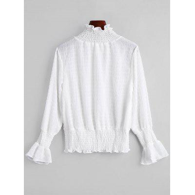 Smocked Flare Sleeve Ruffle Neck BlouseBlouses<br>Smocked Flare Sleeve Ruffle Neck Blouse<br><br>Collar: Ruff Collar<br>Embellishment: Ruffles<br>Material: Polyester<br>Occasion: Casual<br>Package Contents: 1 x Blouse<br>Pattern Type: Solid<br>Shirt Length: Regular<br>Sleeve Length: Full<br>Sleeve Type: Flare Sleeve<br>Style: Casual<br>Weight: 0.2050kg