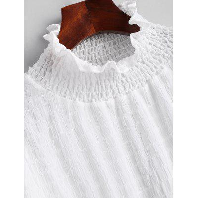 Фото Smocked Flare Sleeve Ruffle Neck Blouse. Купить в РФ