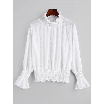 Smocked Flare Sleeve Ruffle Neck Blouse