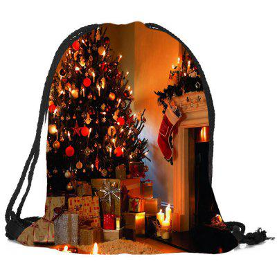 Christmas Fireplace Tree Pattern Gift Candy Bag Drawstring Backpack