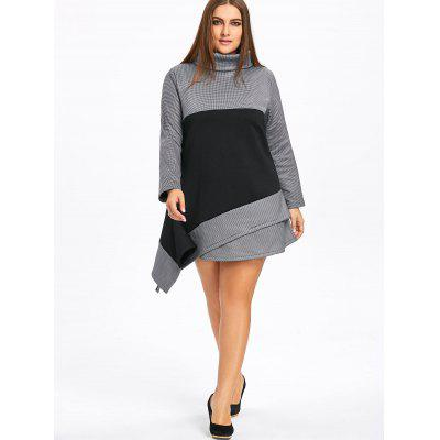 Фото Plus Size Color Block Asymmetric Turtleneck Dress. Купить в РФ