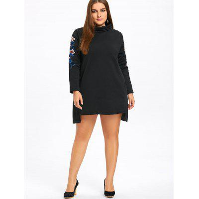 Фото Plus Size Fleece Lined Embroidered Sweatshirt Dress. Купить в РФ