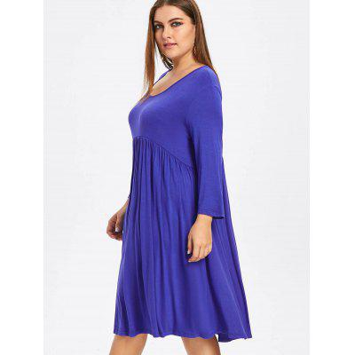 Plus Size Empire Waist Smock DressPlus Size Dresses<br>Plus Size Empire Waist Smock Dress<br><br>Dresses Length: Knee-Length<br>Material: Cotton Blend, Polyester<br>Neckline: Round Collar<br>Package Contents: 1 x Dress<br>Pattern Type: Solid, Solid Color<br>Season: Winter, Fall<br>Silhouette: A-Line<br>Sleeve Length: 3/4 Length Sleeves<br>Style: Casual<br>Waist: Empire<br>Weight: 0.2400kg<br>With Belt: No