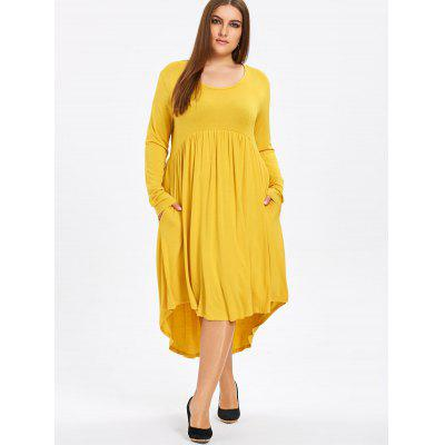 Plus Size Midi High Low Swing DressPlus Size Dresses<br>Plus Size Midi High Low Swing Dress<br><br>Dresses Length: Mid-Calf<br>Material: Cotton Blend, Polyester<br>Neckline: Round Collar<br>Package Contents: 1 x Dress<br>Pattern Type: Solid Color<br>Season: Winter, Fall<br>Silhouette: A-Line<br>Sleeve Length: Long Sleeves<br>Style: Casual<br>Weight: 0.6200kg<br>With Belt: No