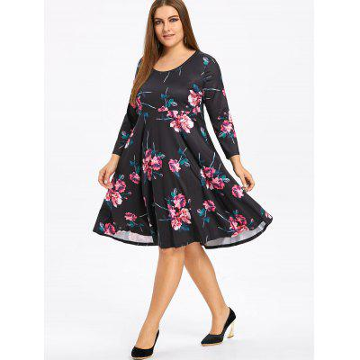 Фото Plus Size Floral Skater Dress with Sleeves. Купить в РФ