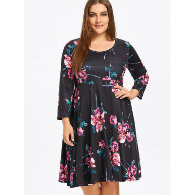 Plus Size Floral Skater Dress with SleevesPlus Size Dresses<br>Plus Size Floral Skater Dress with Sleeves<br><br>Dresses Length: Knee-Length<br>Material: Cotton Blend, Polyester<br>Neckline: Round Collar<br>Package Contents: 1 x Dress<br>Pattern Type: Print, Floral<br>Season: Fall, Spring<br>Silhouette: A-Line<br>Sleeve Length: 3/4 Length Sleeves<br>Style: Casual<br>Weight: 0.5400kg<br>With Belt: No