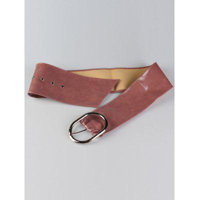 Фото Vintage Metal Round Buckle Design Faux Leather Wide Waist Belt. Купить в РФ
