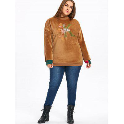 Фото Plus Size Letter Embroidered  Fleece Sweatshirt. Купить в РФ