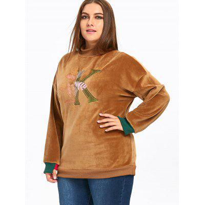 Plus Size Letter Embroidered  Fleece SweatshirtPlus Size Tops<br>Plus Size Letter Embroidered  Fleece Sweatshirt<br><br>Embellishment: Appliques,Embroidery<br>Material: Polyester<br>Package Contents: 1 x Sweatshirt<br>Pattern Style: Letter<br>Season: Winter<br>Shirt Length: Long<br>Sleeve Length: Full<br>Style: Fashion<br>Weight: 0.7500kg