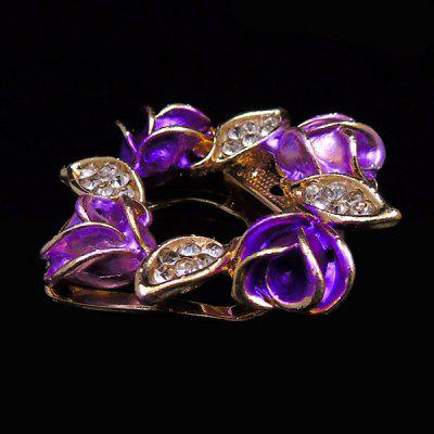 Фото Oil Drip Rose Leaf Rhinestone Brooch. Купить в РФ