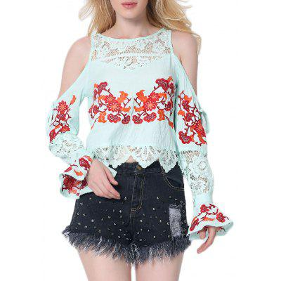 Cold Shoulder Floral Embroidered Lace Insert Blouse