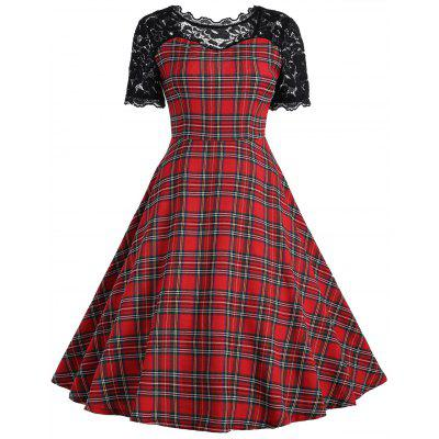 Vintage Lace Panel Tartan Dress
