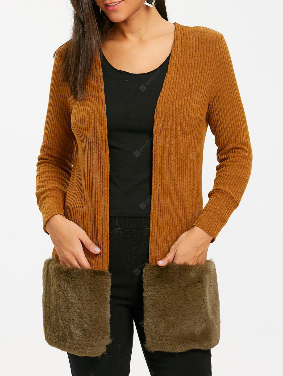 BROWN L Open Front Faux Fur Tunic Cardigan